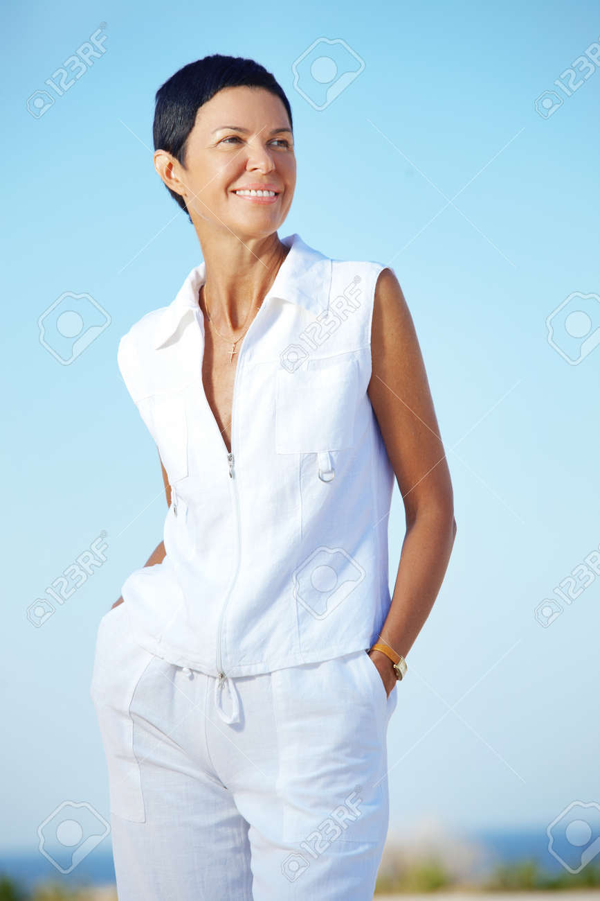 Portrait of beautiful middle aged woman outdoors Stock Photo - 12026776