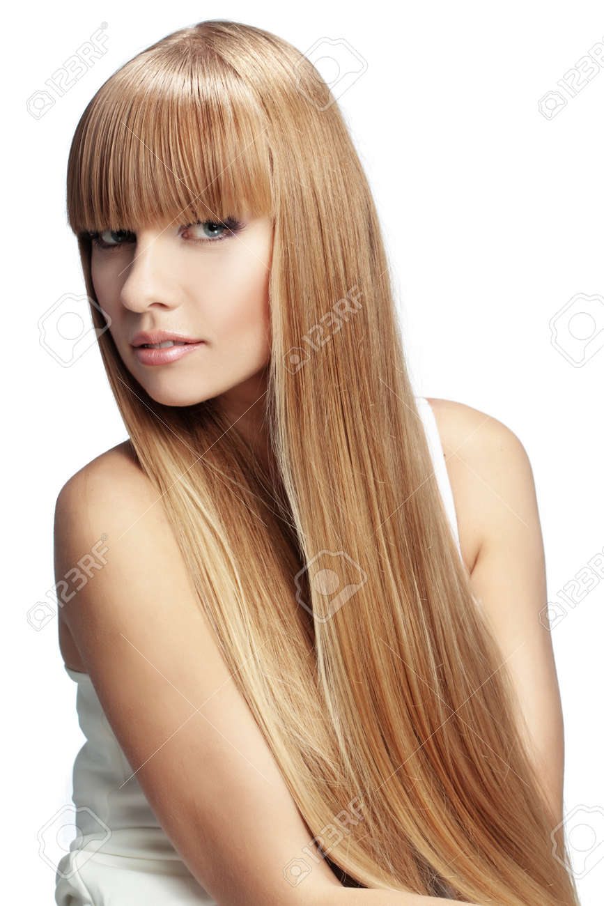 portrait of beautiful with perfect long shiny blond hair