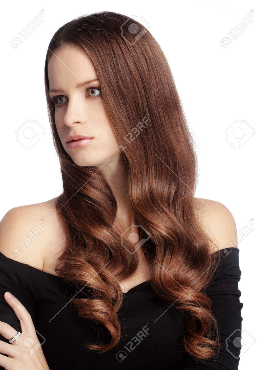 Portrait of young beautiful woman with long glossy hair Stock Photo - 16637442
