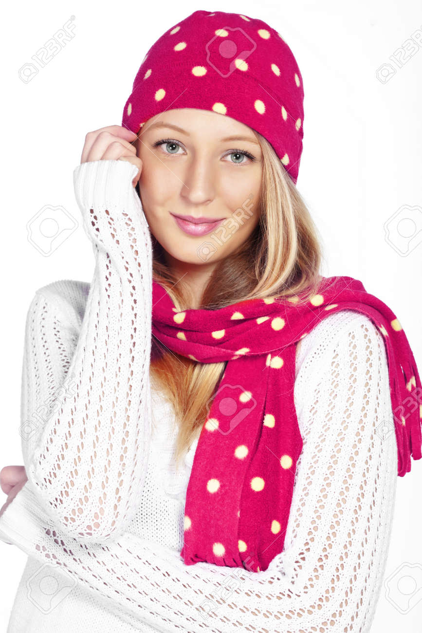 Portrait of the beautiful teenage girl wearing warm winter clothing Stock Photo - 16717690