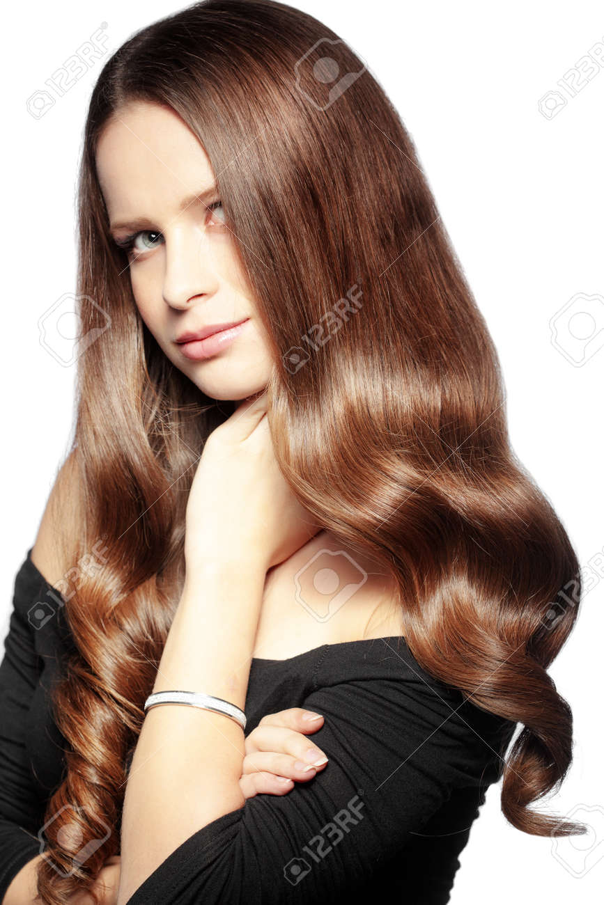 Portrait of young beautiful woman with long glossy hair Stock Photo - 17333101