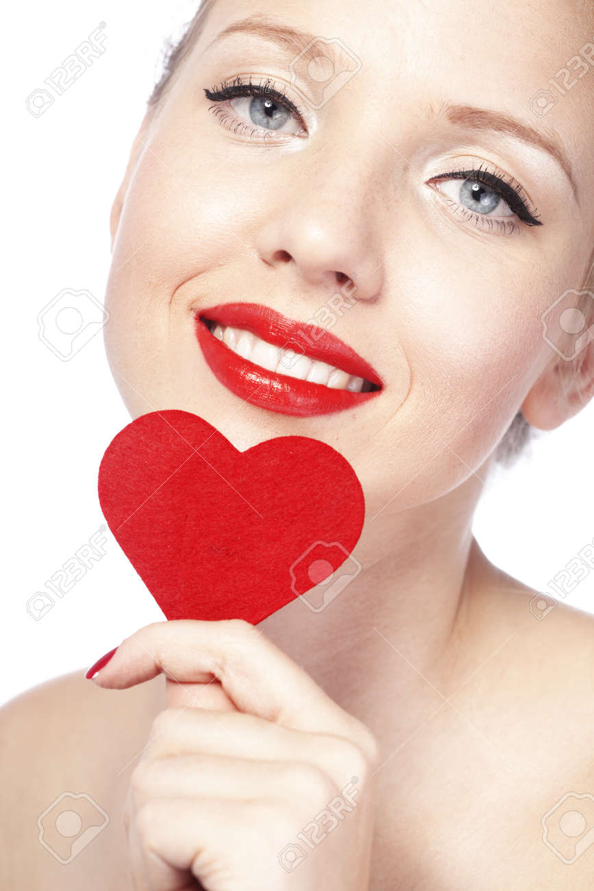Beautiful gorgeous woman with glamour bright makeup and red heart Stock Photo - 17382150
