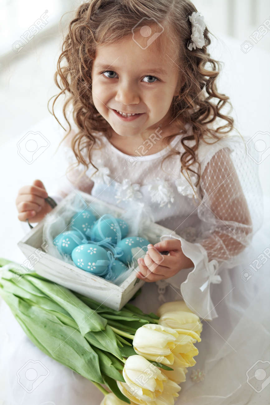 Beautiful Little Child Wearing Flower Girl Dress Posing With Stock