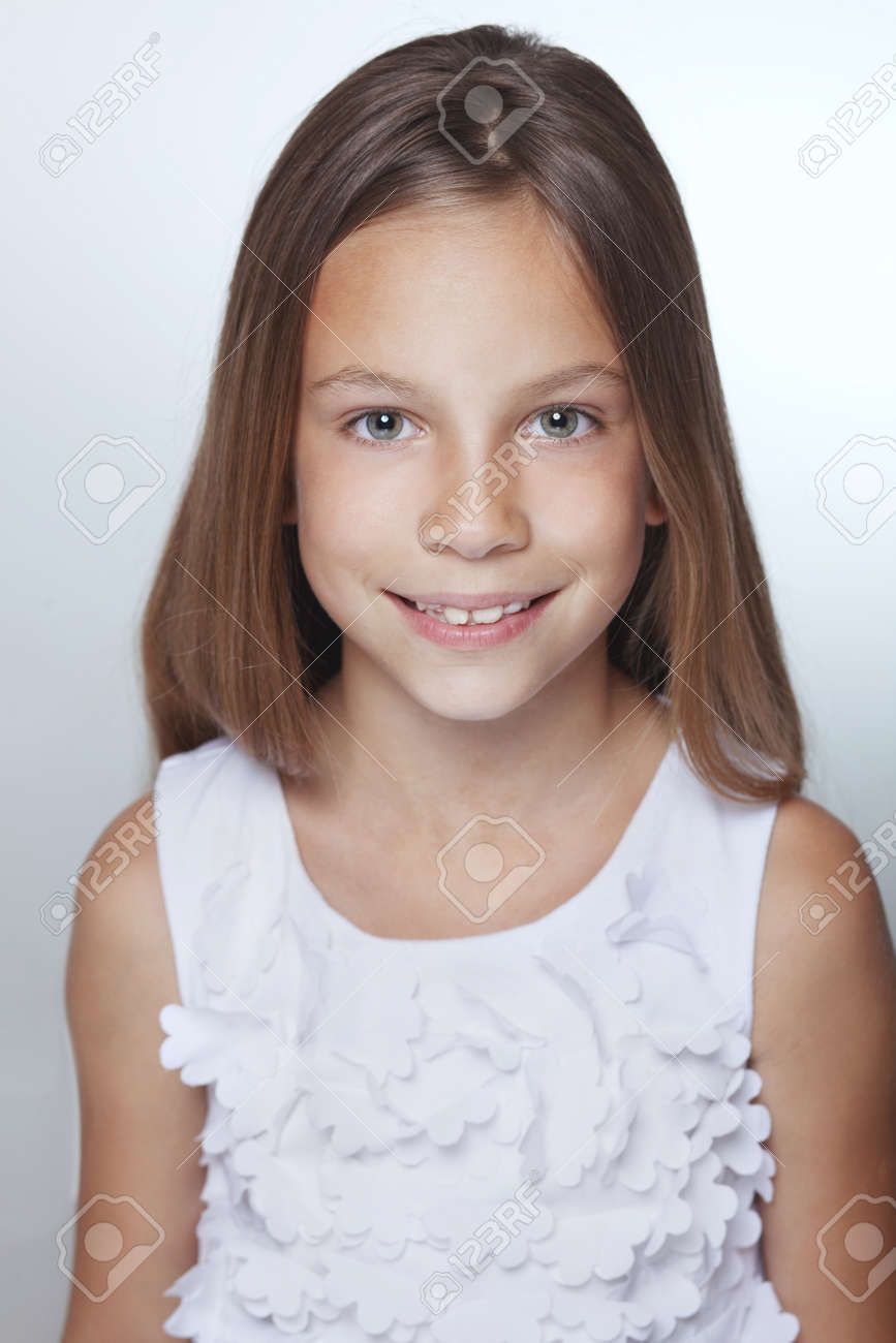Portrait of 7 years old smiling kid girl Stock Photo - 29289658