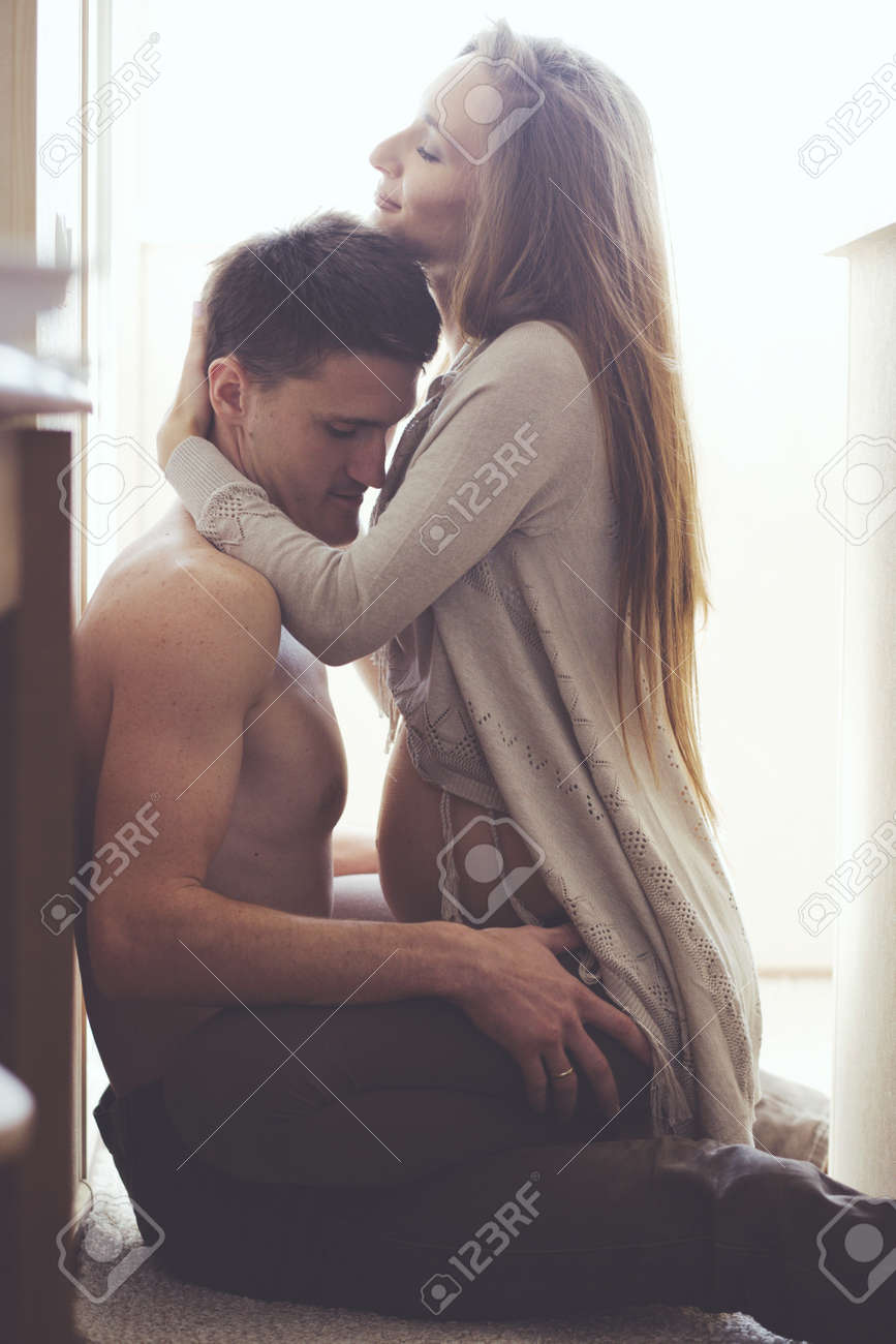 Romantic Home Portrait Of Beautiful Loving Couple During Pregnancy Stock Photo Picture And Royalty Free Image Image 32487643