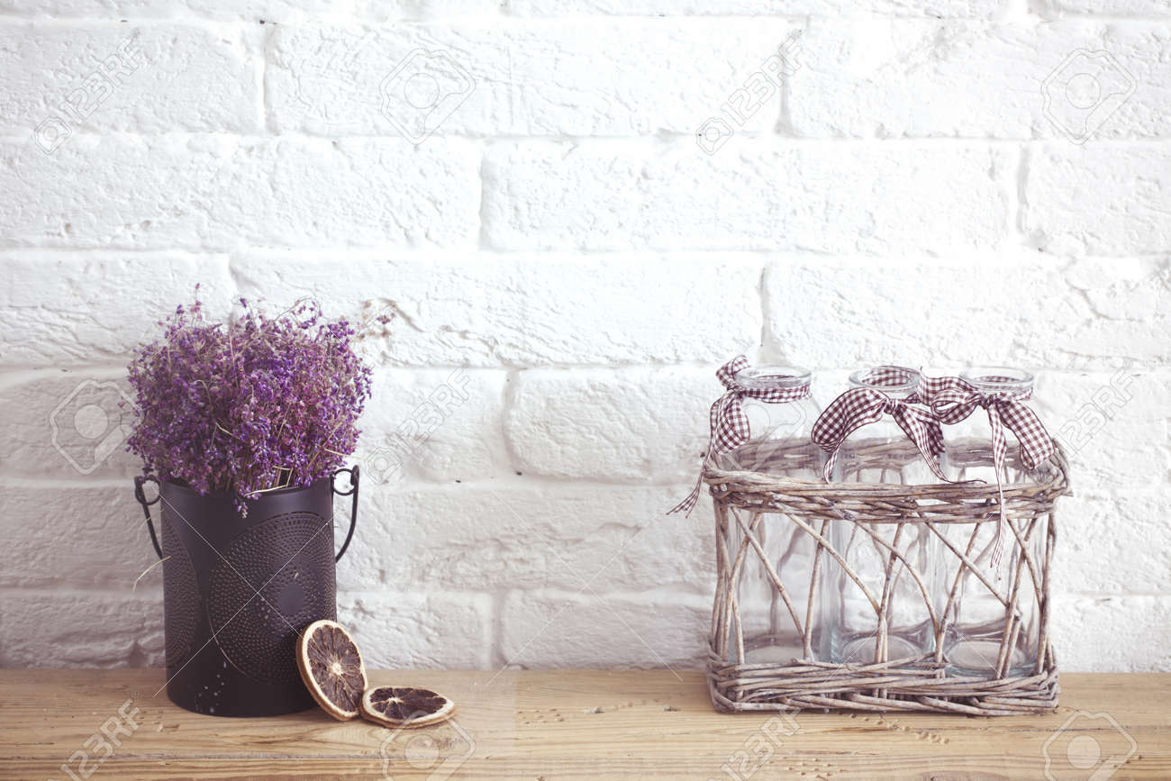 home decor photography. Rustic home decor  provence style Lavender bouquet of dried field flowers and glass spice Home Decor Provence Style Bouquet Of Dried Stock