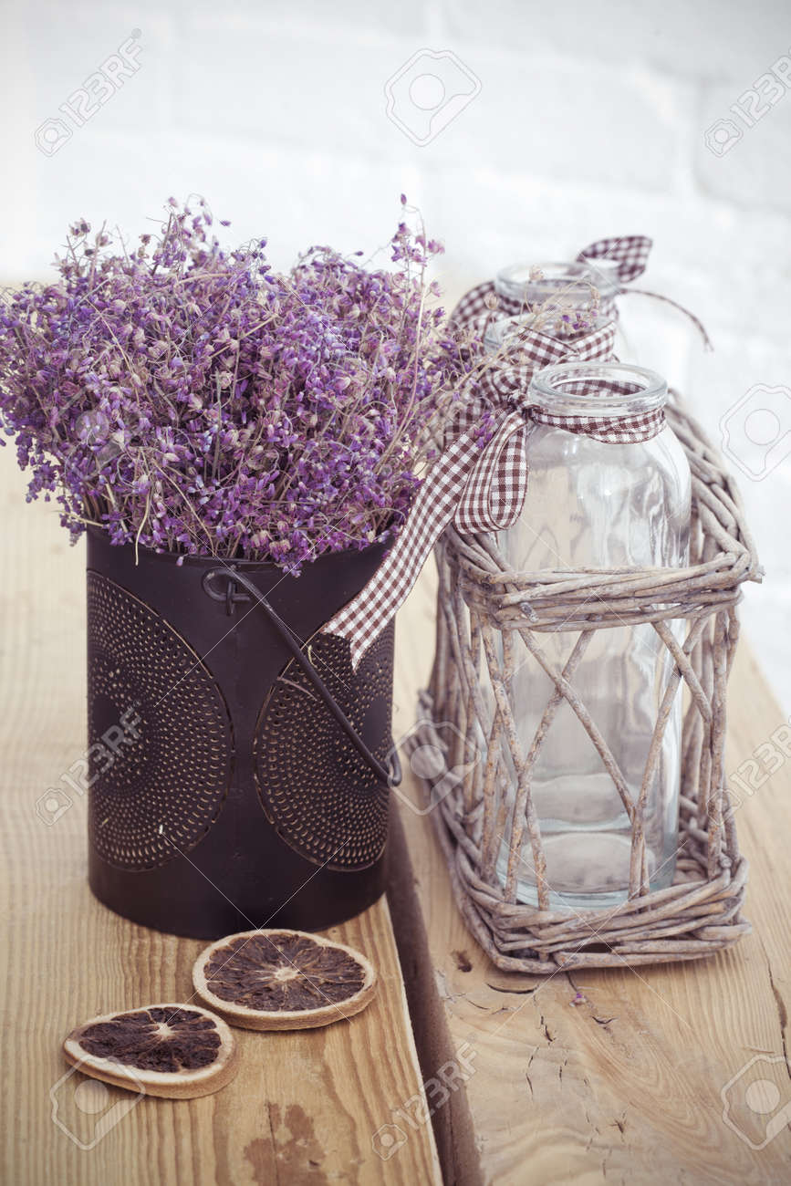 Rustic Home Decor Provence Style Lavender Bouquet Of Dried Field Flowers And Glass Spice
