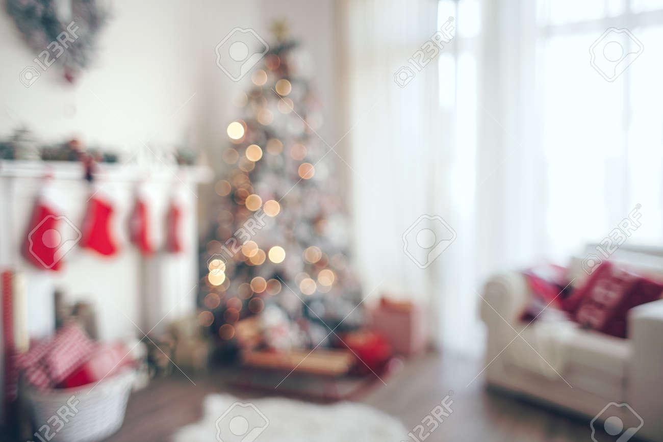 Holdiay Mooi Ingerichte Kamer Met Een Kerstboom, Onscherp ...