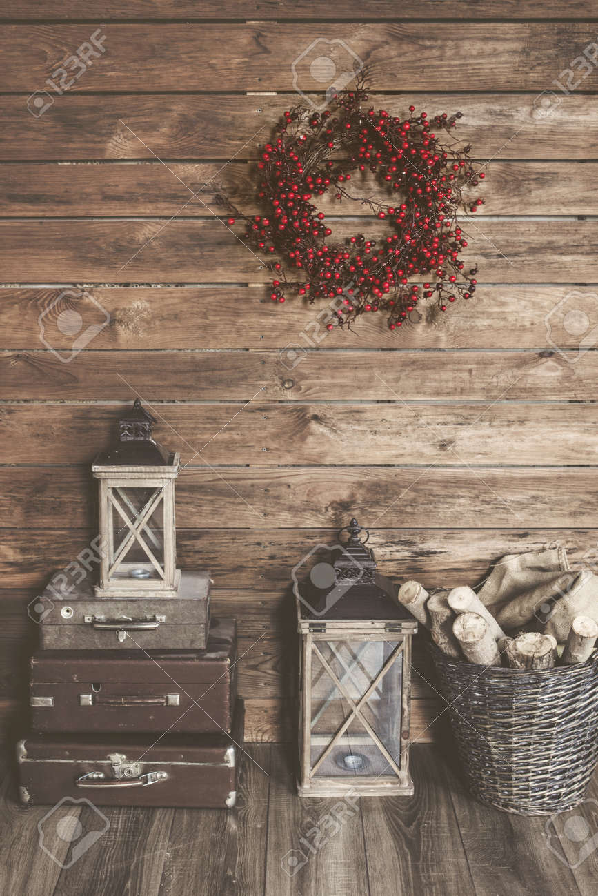 Winter home decor christmas rustic interior farmhouse decoration style stock photo 46058121