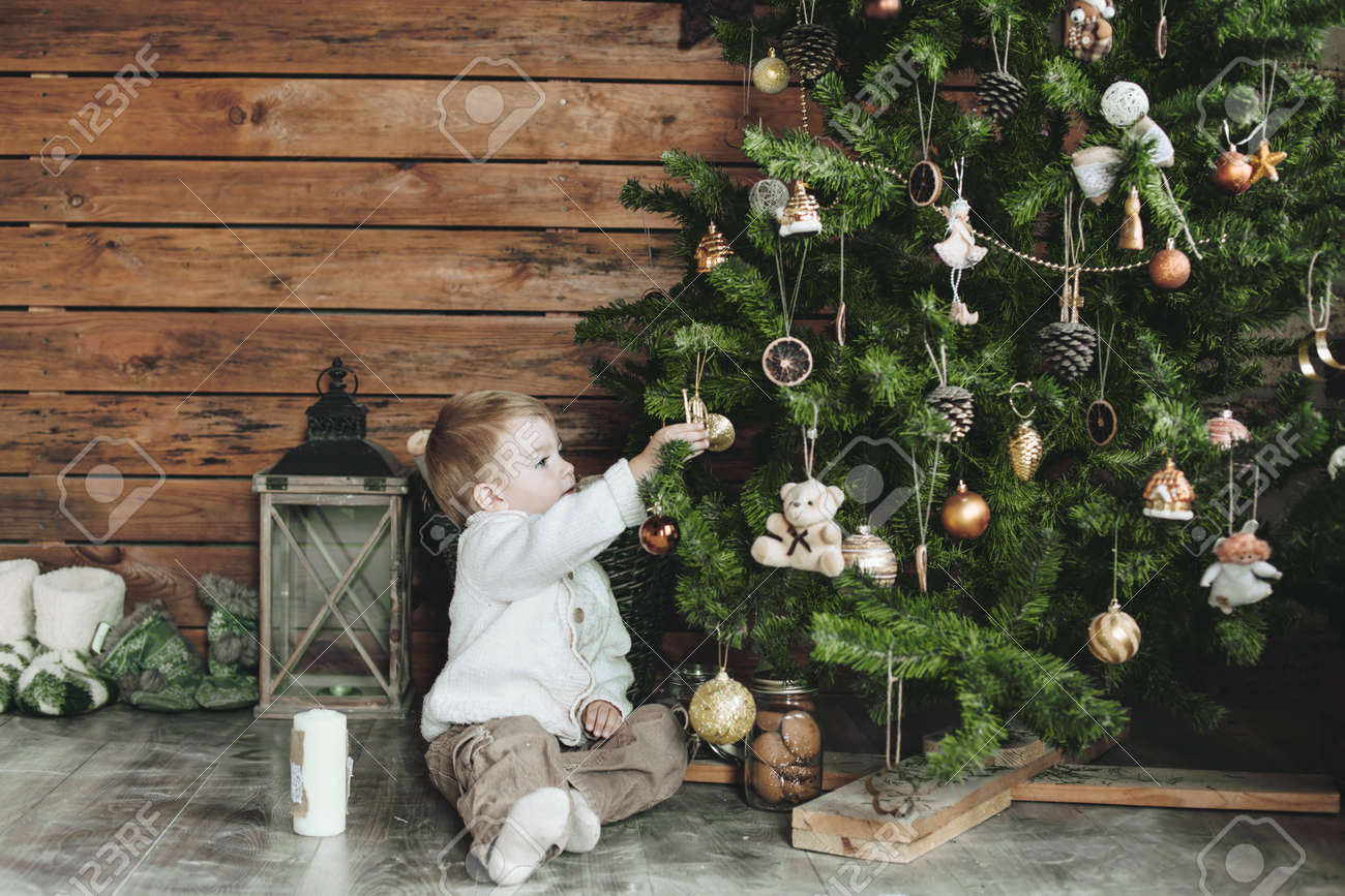 3 Years Old Child Celebrating Holidays Near Christmas Tree, Farm ...