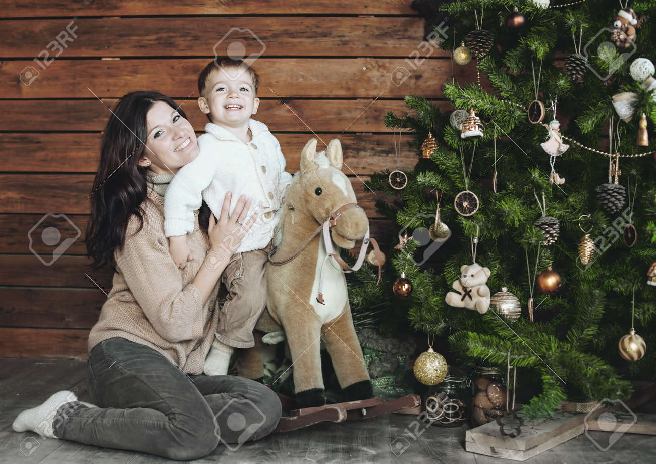 Mother Firh Her 3 Years Old Son Celebrating Holidays Near Christmas ...