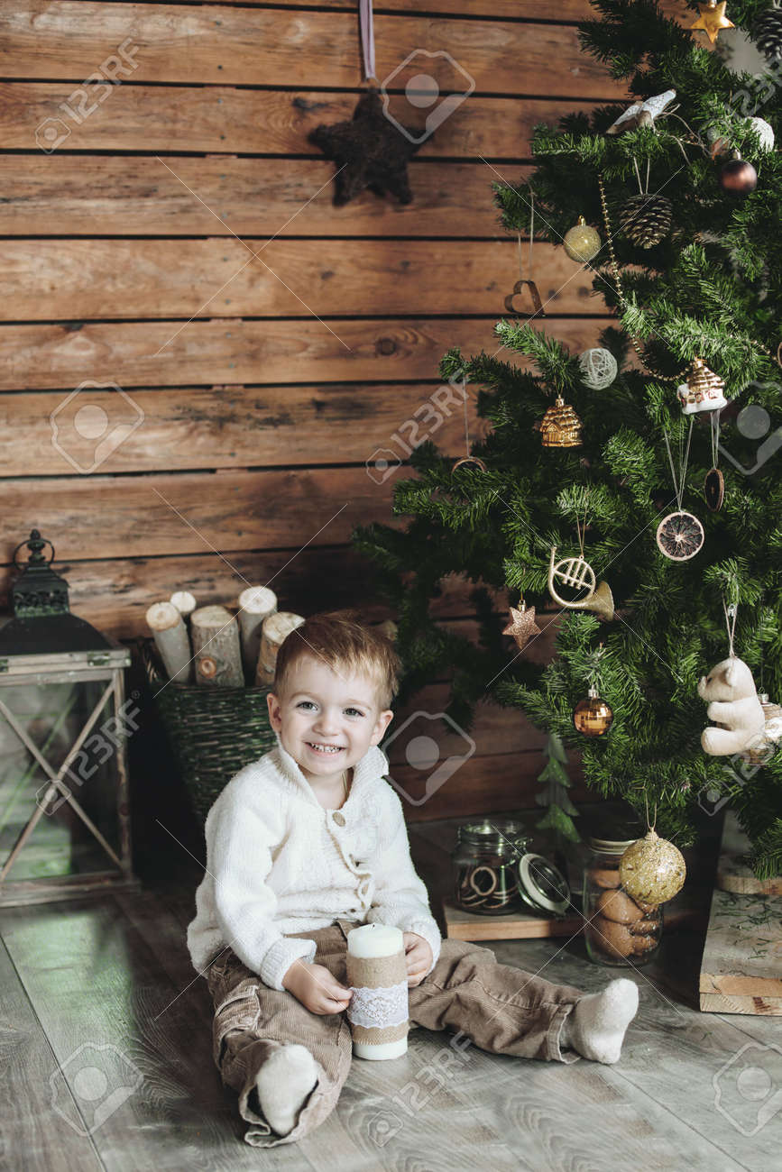 3 Years Old Child Celebrating Holidays Near Christmas Tree, Farm ...