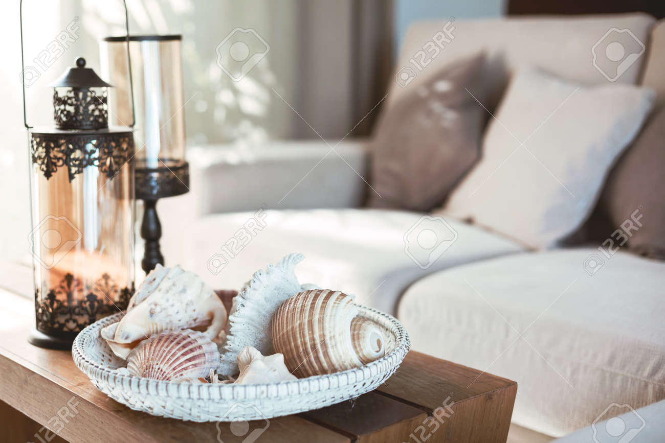 Beach Interior Decor Sea Shells And Lanterns On The Wooden Coffee Stock Photo Picture And Royalty Free Image Image 54741366