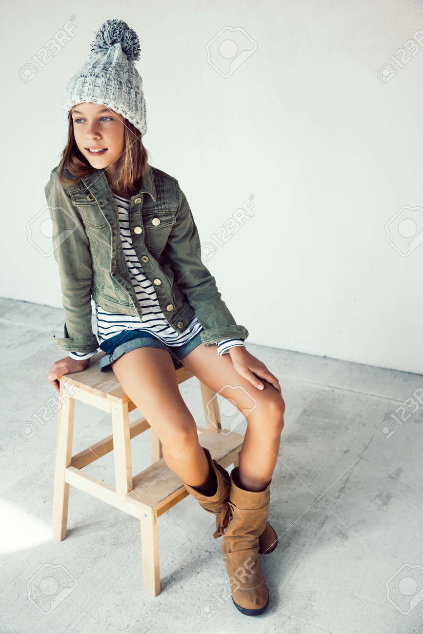 069d33a1f15e Fashion Pre Teen Girl Of 10 Years Old Wearing Fall Clothing And ...