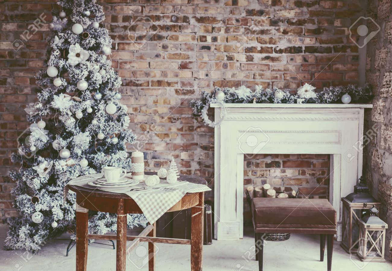 Winter Home Decor Christmas Tree In Loft Interior Against Brick