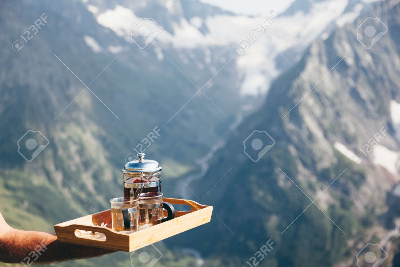 Astonishing Tea On Wooden Tray Over Mountains View Outdoor Breakfast In Beutiful Home Inspiration Aditmahrainfo