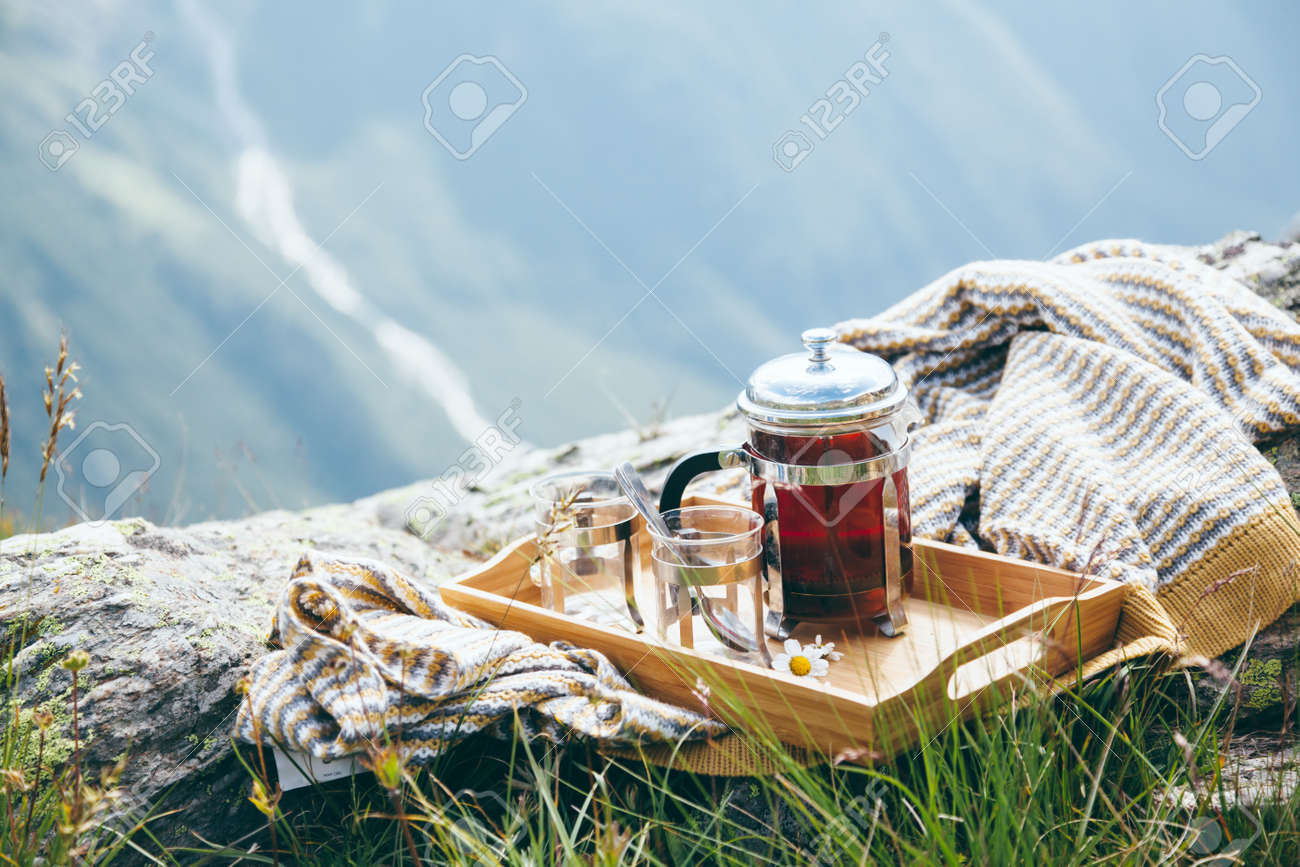 Wondrous Tea On Wooden Tray Over Mountains View Outdoor Breakfast In Beutiful Home Inspiration Aditmahrainfo
