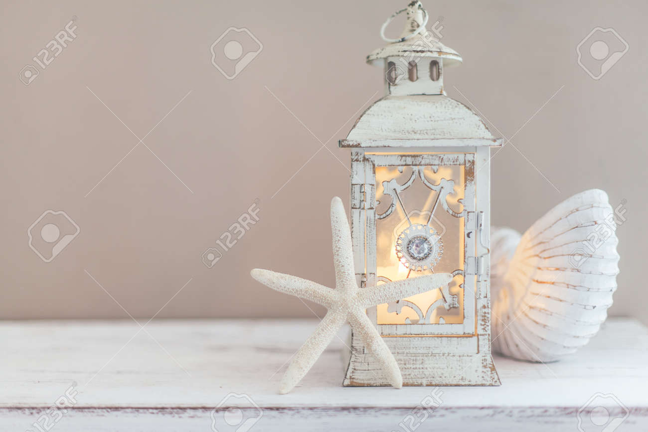 Beach Wedding Interior Decor Natural Seashell And Lantern On Stock Photo Picture And Royalty Free Image Image 81879987