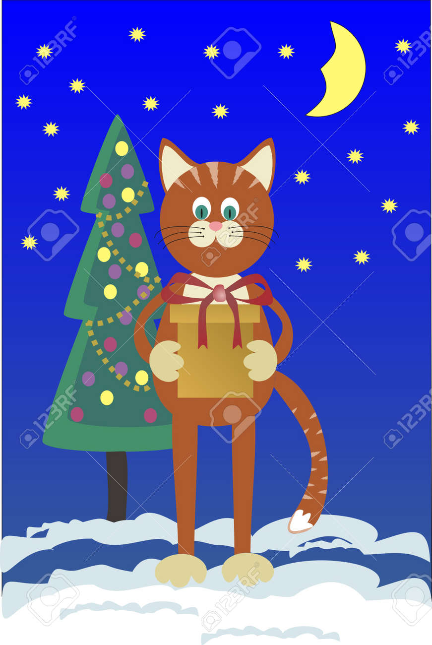 Orange cat with a gift about a Christmas tree against the star sky Stock Vector - 21328302