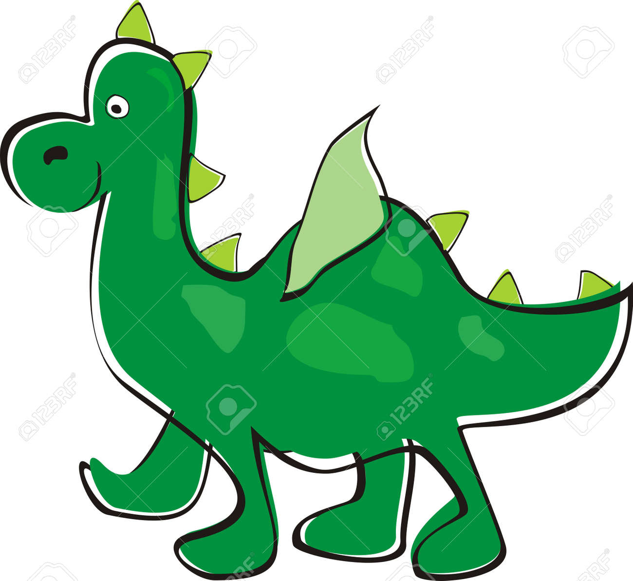 Green dragon  Children s drawing Stock Vector - 21316887