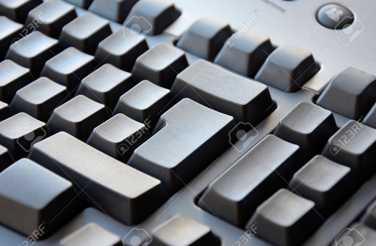 gray keyboard close up without letters stock photo 23907119