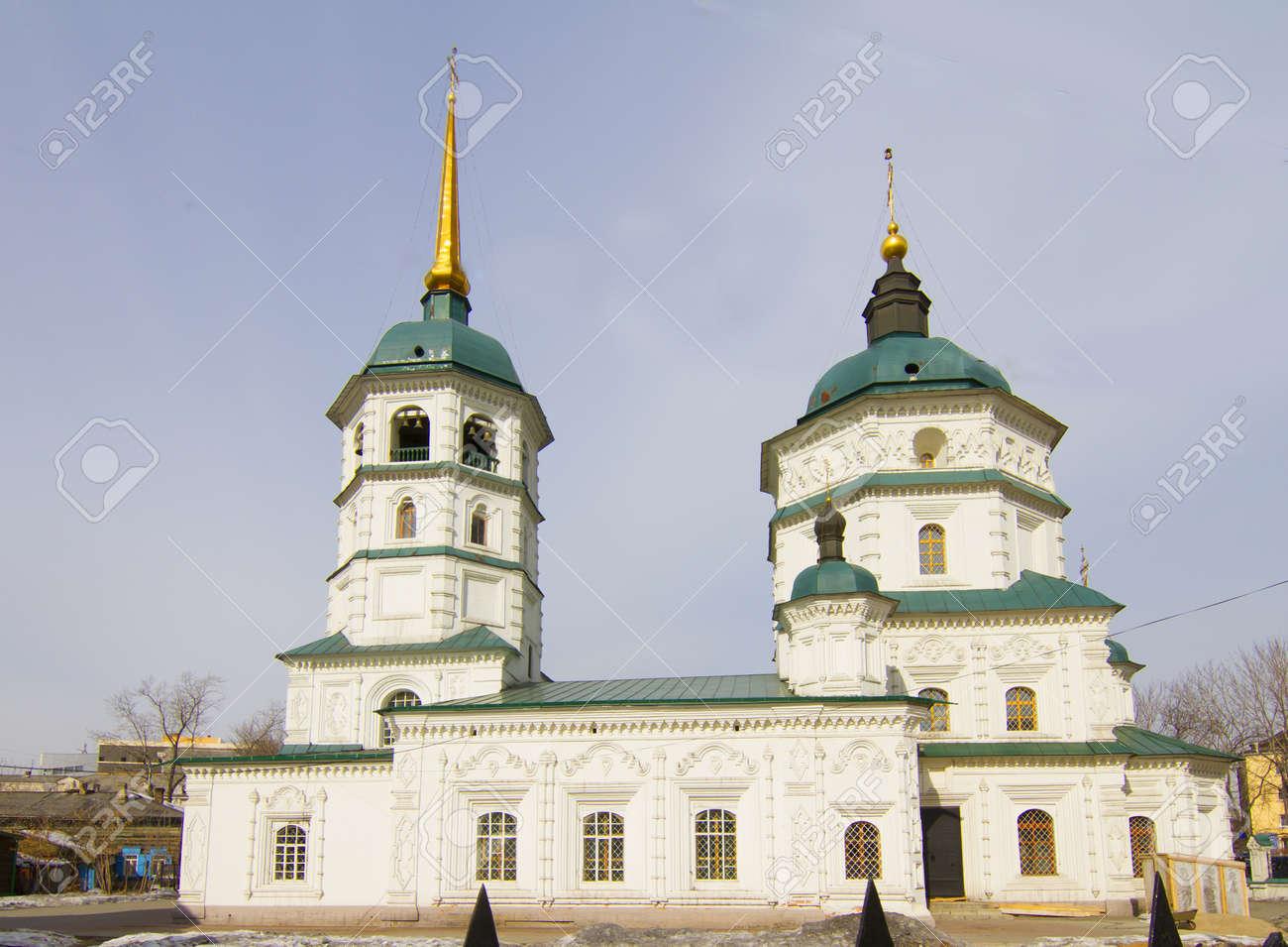 Holy Trinity  Svyato-Troickiy  temple in Irkutsk Stock Photo - 18317348