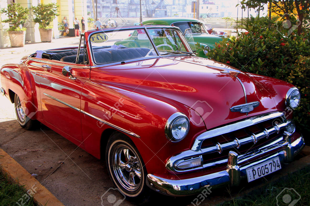 Havana, Cuba, July 17, 2017. Old american cars are an open air museum on city streets. - 149028633