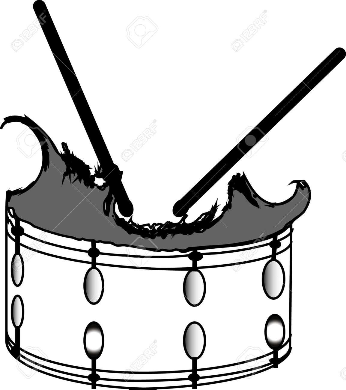Broken Snare Drum Stock Vector