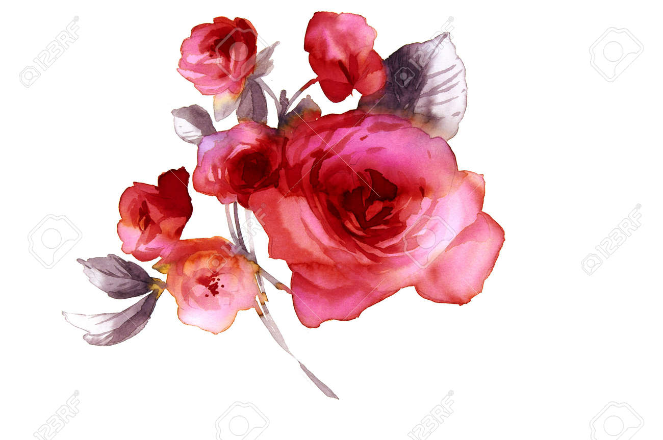 Color Illustration Of Flowers In Watercolor Paintings Stock Photo ...
