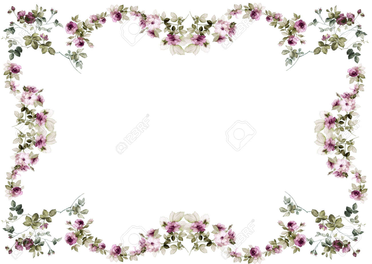 Flowers Frame In White Background Isolated Stock Photo Picture And