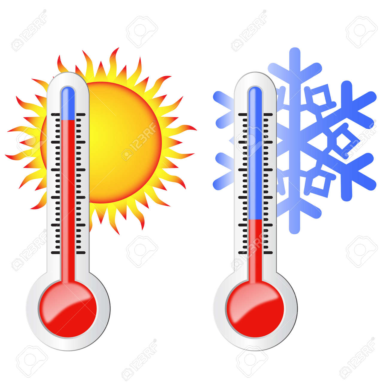 Two Thermometers High And Low Temperature Symbolize The Heat And Cold Sun And Snowflake Stock