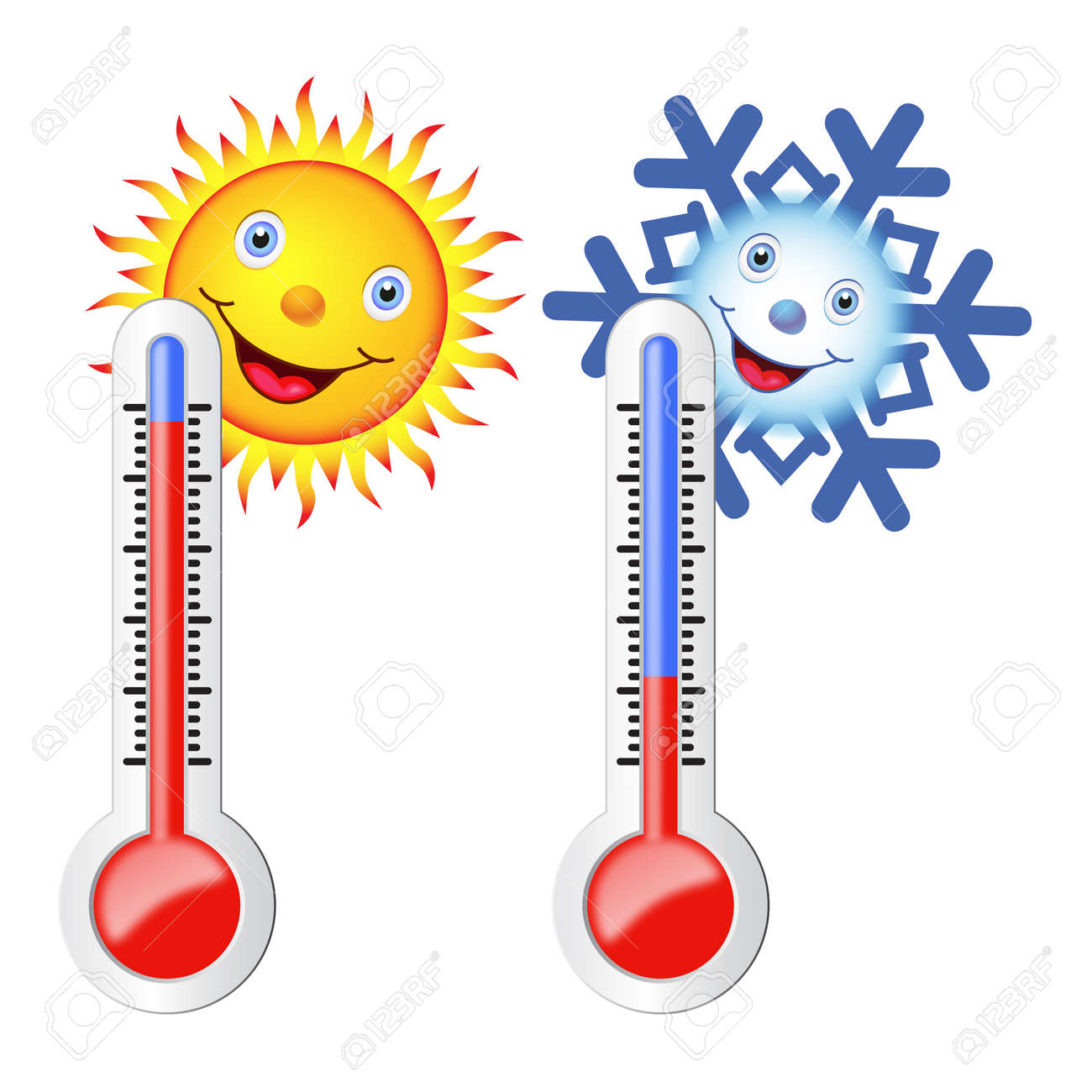 Two thermometers, high and low temperature. Sun and snowflake with a smile. Vector image. - 43885633