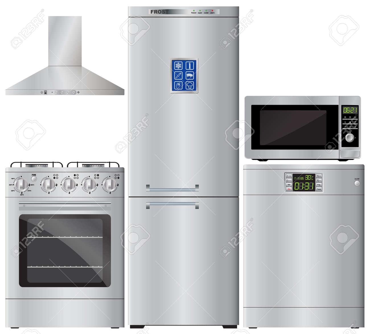 Appliances. Set Of Household Appliances. Refrigerator, Stove ...