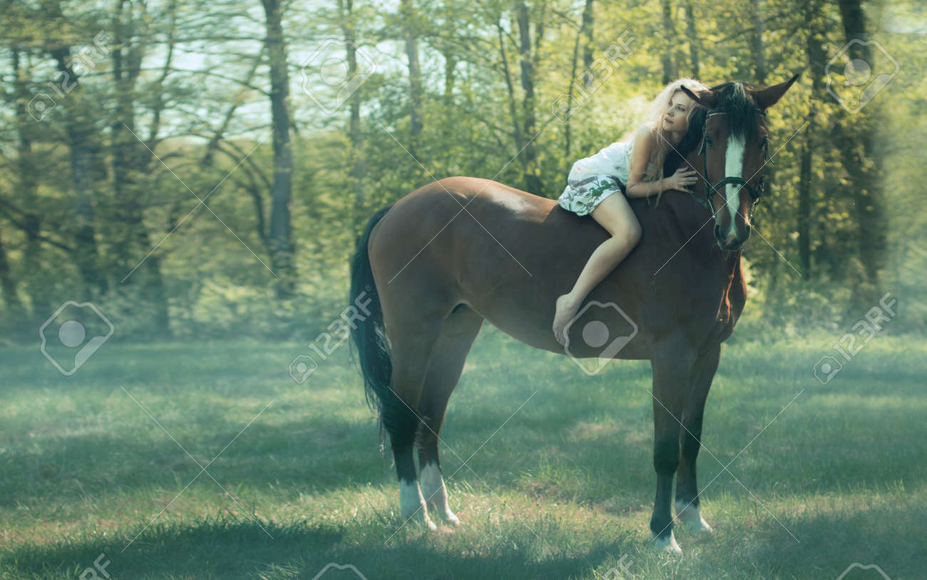 beautiful girl on a horse Stock Photo - 15760142