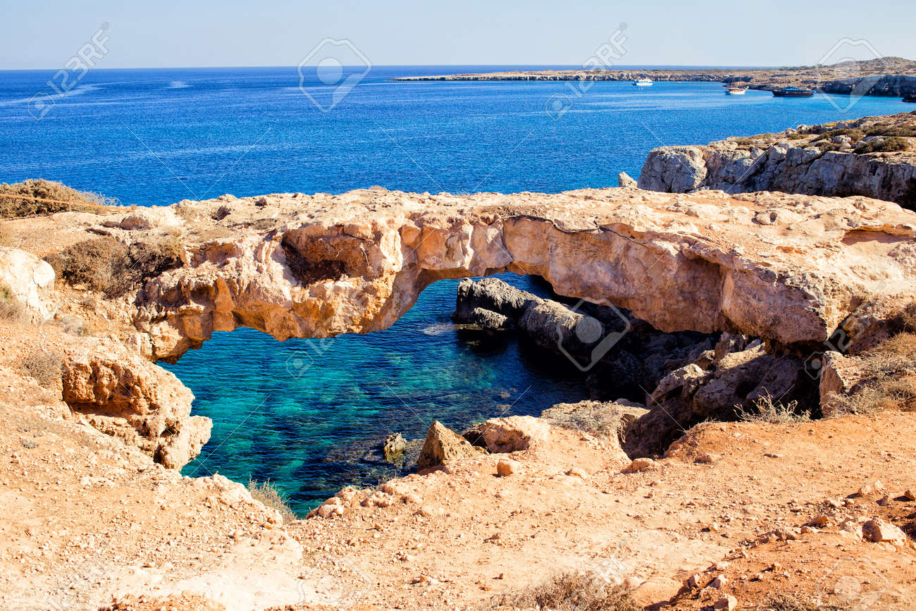 Natural Bridge In Cavo Cape Greco, At National Forest Park, Ayia ...