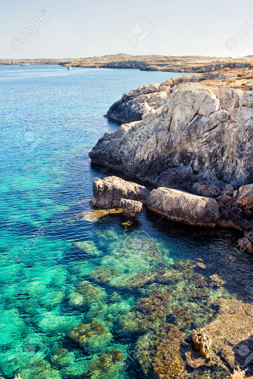 Scenic Image Of Blue Caves, Greco Cape, Ayia Napa. Turquoise.. Stock ...