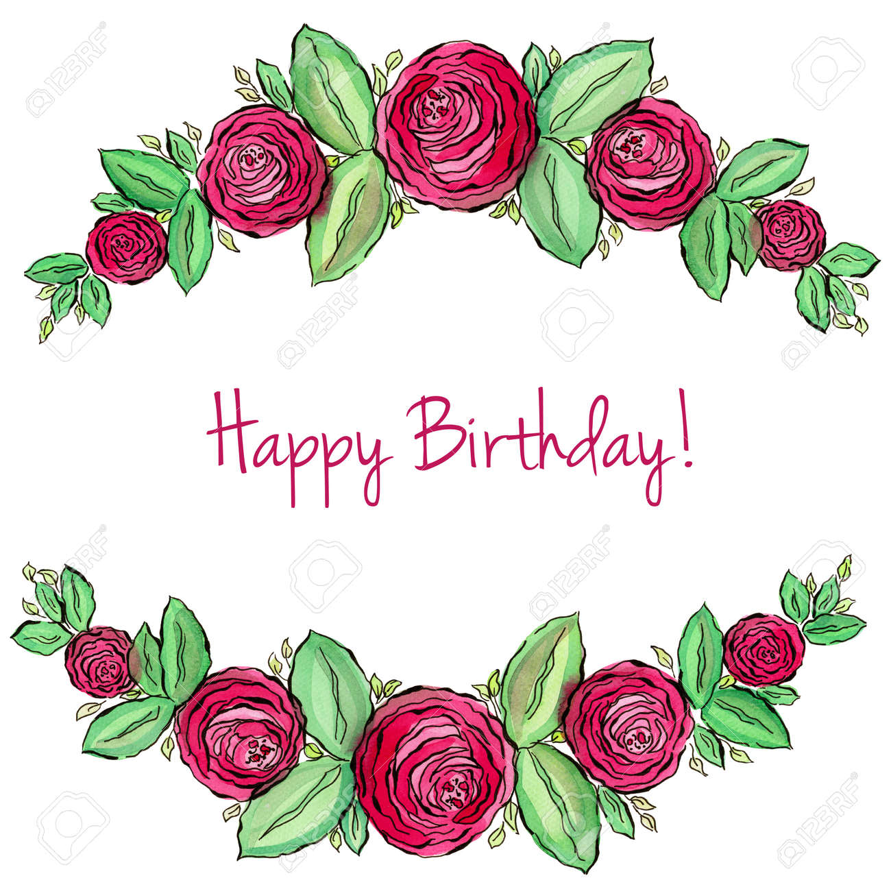 Beautiful Watercolor Corner Frame Roses Happy Birthday Greetings