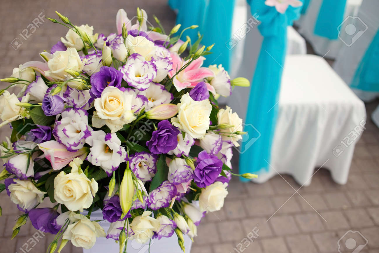 beautiful romantic flower set up decoration on wedding ceremony