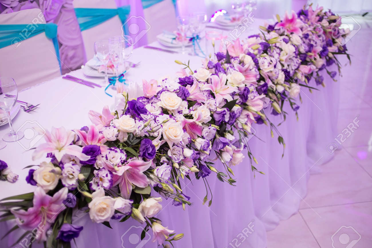 Beautiful Wedding Table With Flower Decoration In Blue White Stock Photo Picture And Royalty Free Image Image 68477112