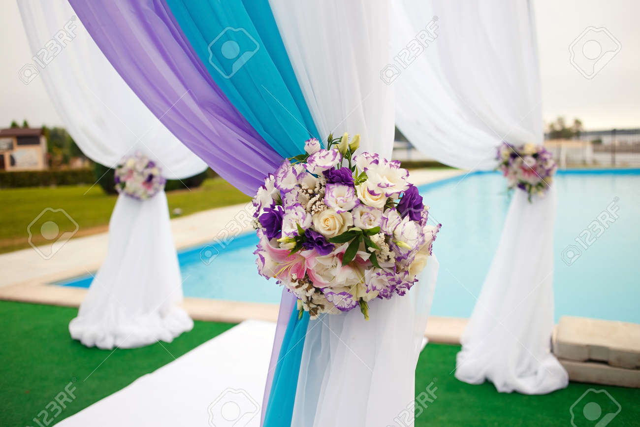beautiful romantic wedding arch set up decoration on wedding