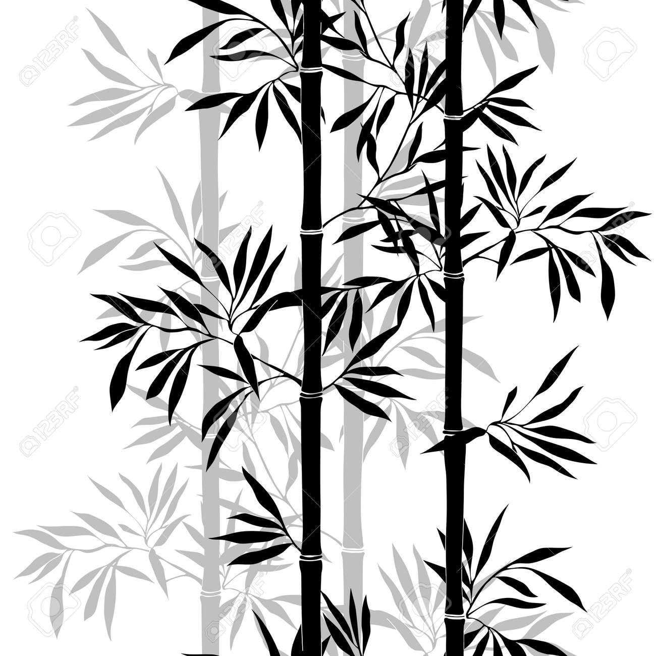 Seamless pattern. Bamboo leaf background. Floral seamless texture with leaves. Vector illustration - 41305484