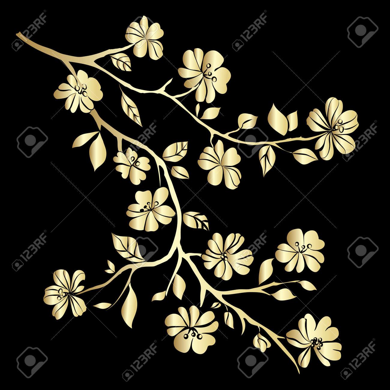 Gold twig sakura blossomson black background. Vector illustration - 42084350