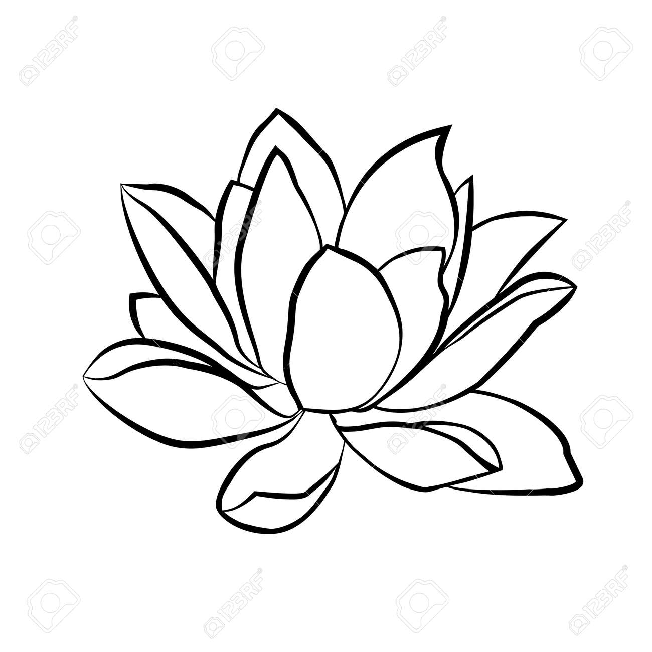 Lotus flowers icon. The black line drawn on a white background - 47657578