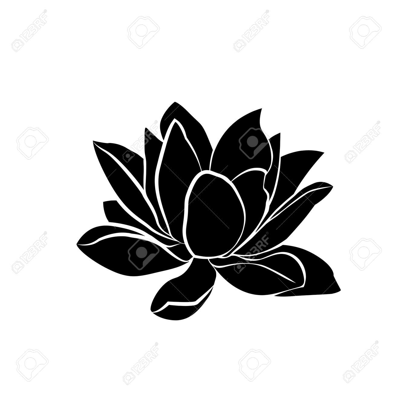 Black Silhouette Of Lotus Flowers Icon On A White Background Royalty