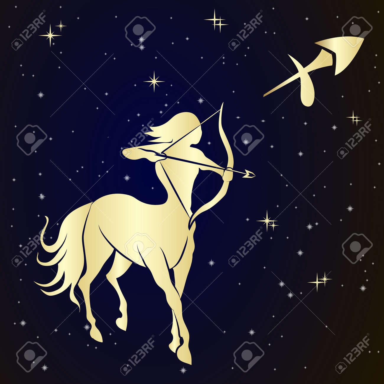 Sagittarius zodiac sign is the starry sky, vector Illustration. Contour icon. - 48498816