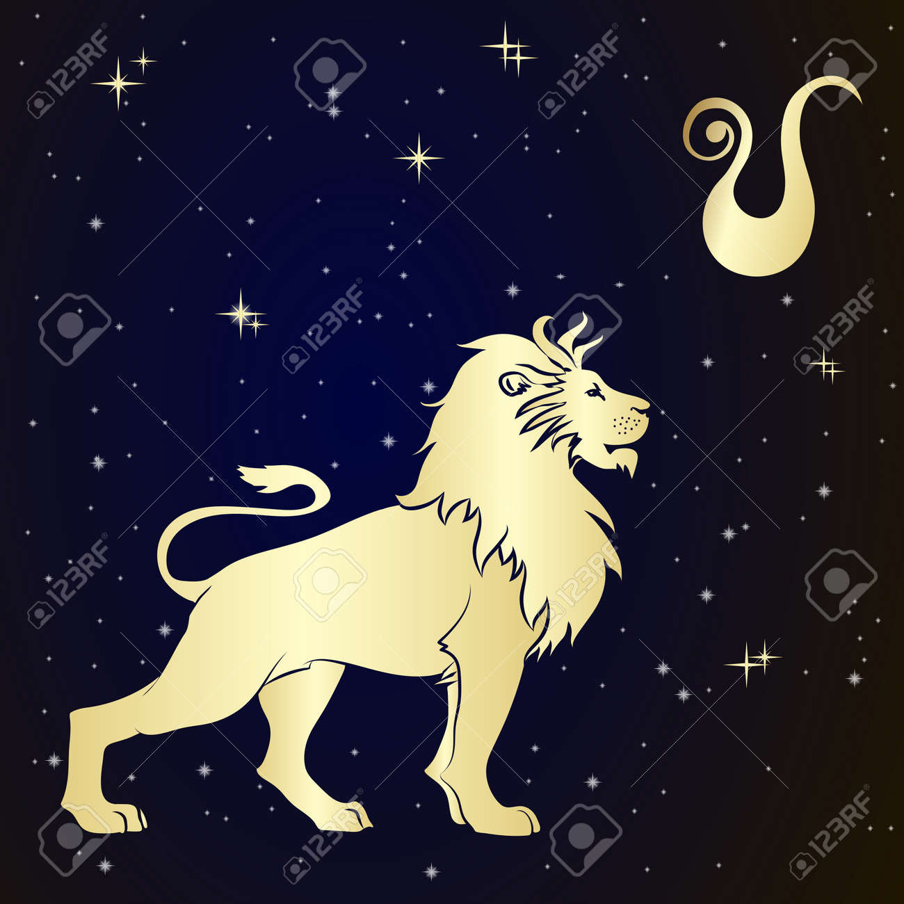 Sign of the zodiac Leo is the starry sky, vector Illustration. Contour icon. - 48498822