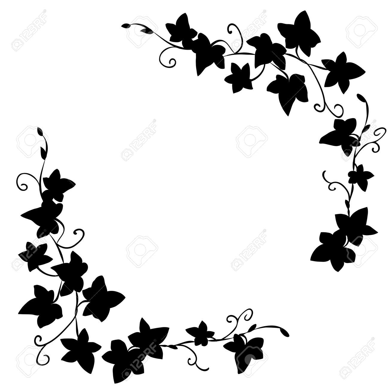 Black and white doodle ivy leaves pattern - 51304786