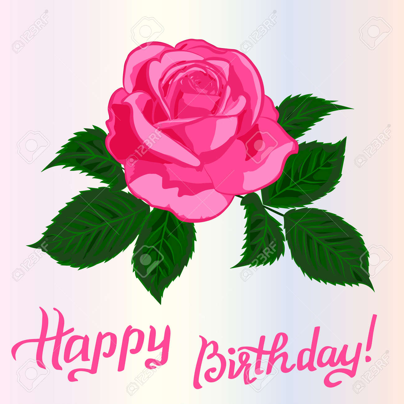 Happy Birthday Lettering And RoseGreeting Card With Fun Vector Illustration Stock