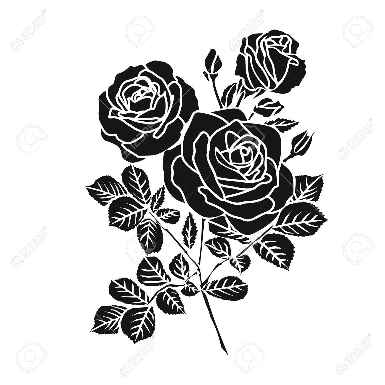 Silhouette Of Rose Vector Illustration Royalty Free Cliparts