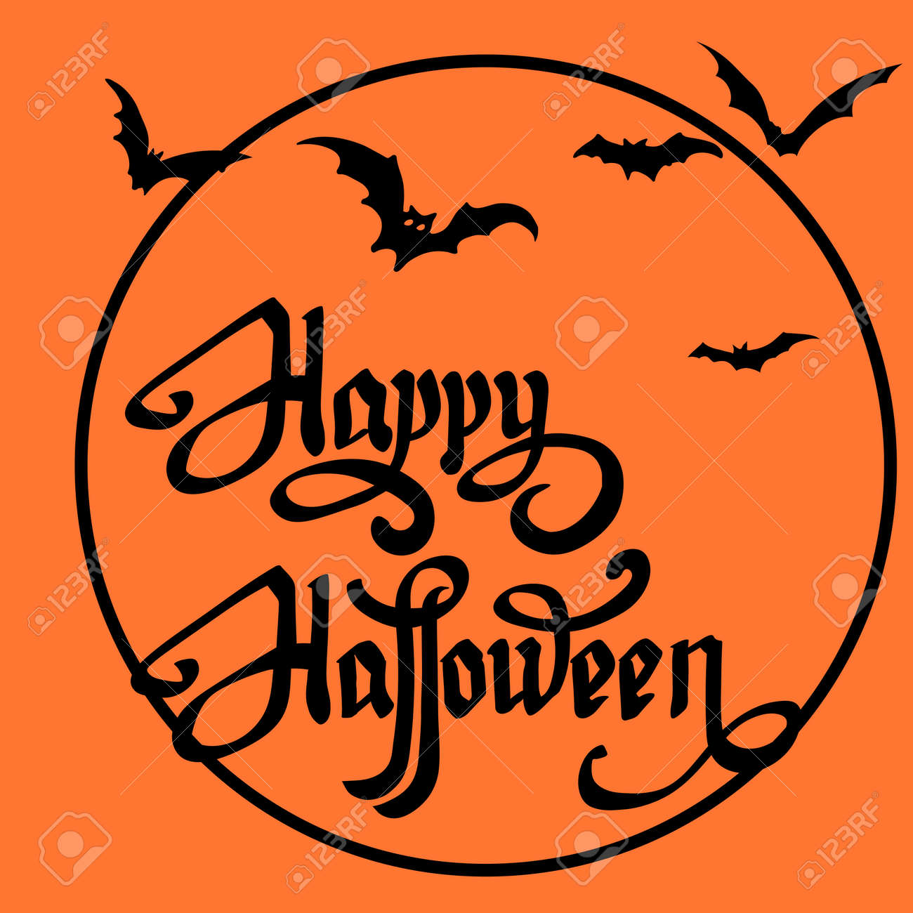 halloween bat on full moon background,happy halloween message